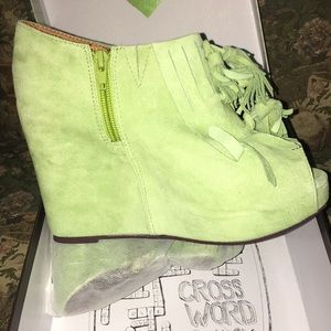 Suede green wedged Jeffrey Campbell